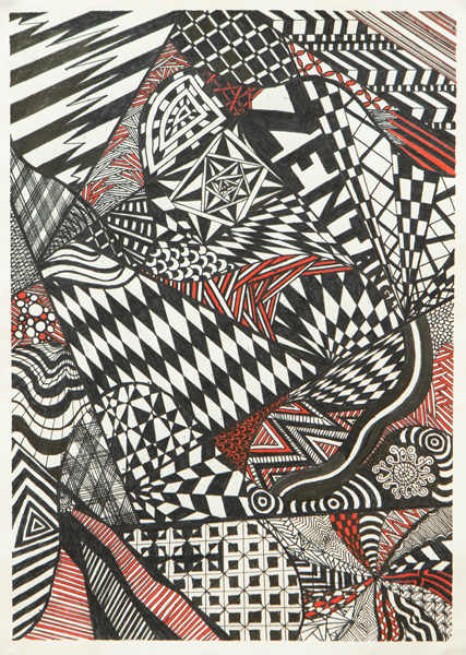 49. Zach Hale, 'Zentangle Black and Red', Yr 7, O'Connor Catholic College, Armidale