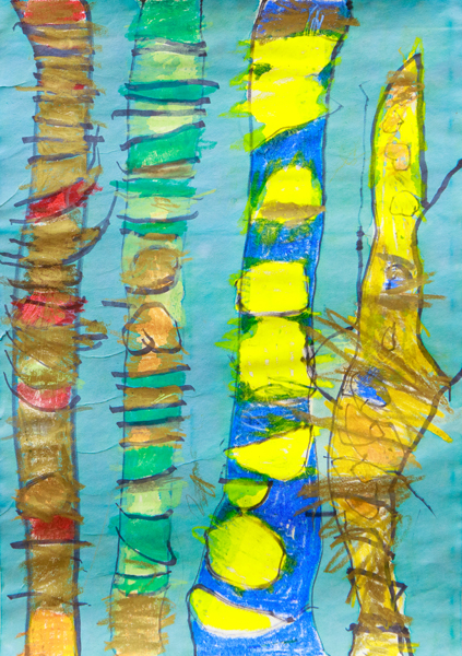 10. Keiron Johnson Heron, 'Tree Trunks', Kindergarten, Lawrence Public School