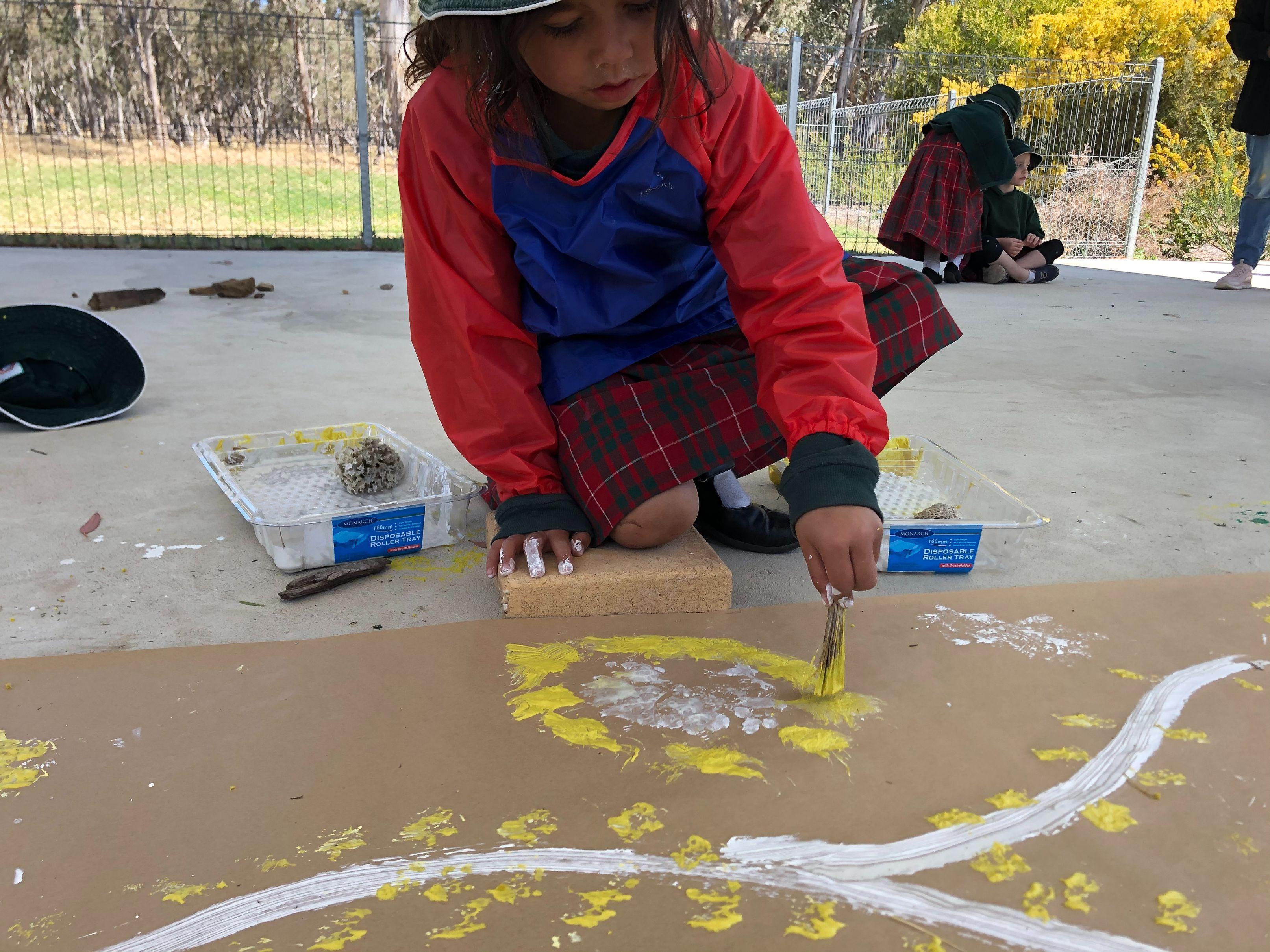 'Wattle Branch Mural', Clay on Paper, Kindergarten Students, Newling Public School