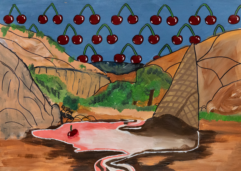 51. Ebonie Bruce, 'Neapolitan River', pencil, acrylic paint, pen, Year 10, Narrabri High School
