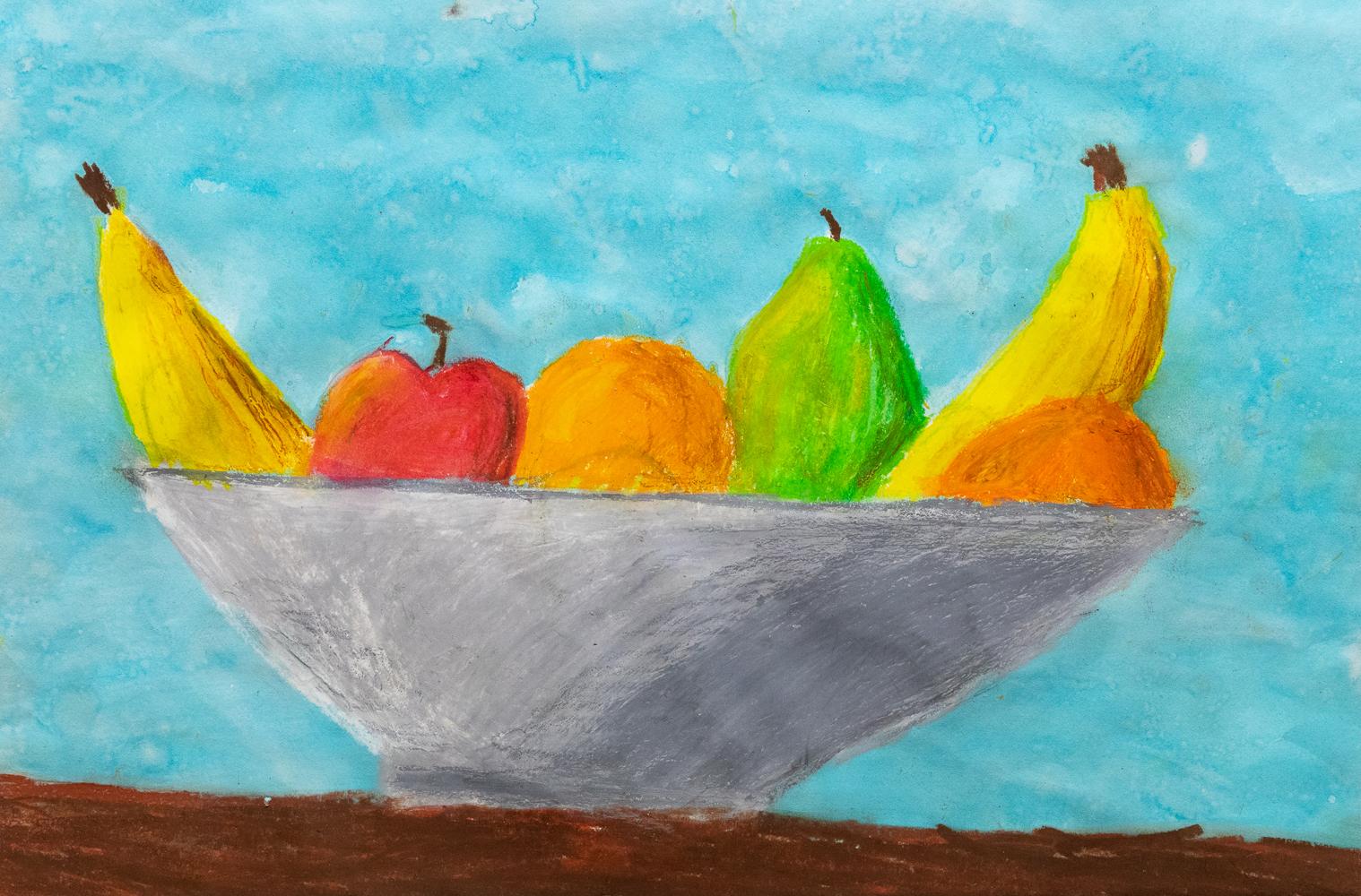 21. Ethan Wooldridge, 'Fruitious', oil pastel, wash,  Year 5, St Joseph's Primary School, Uralla