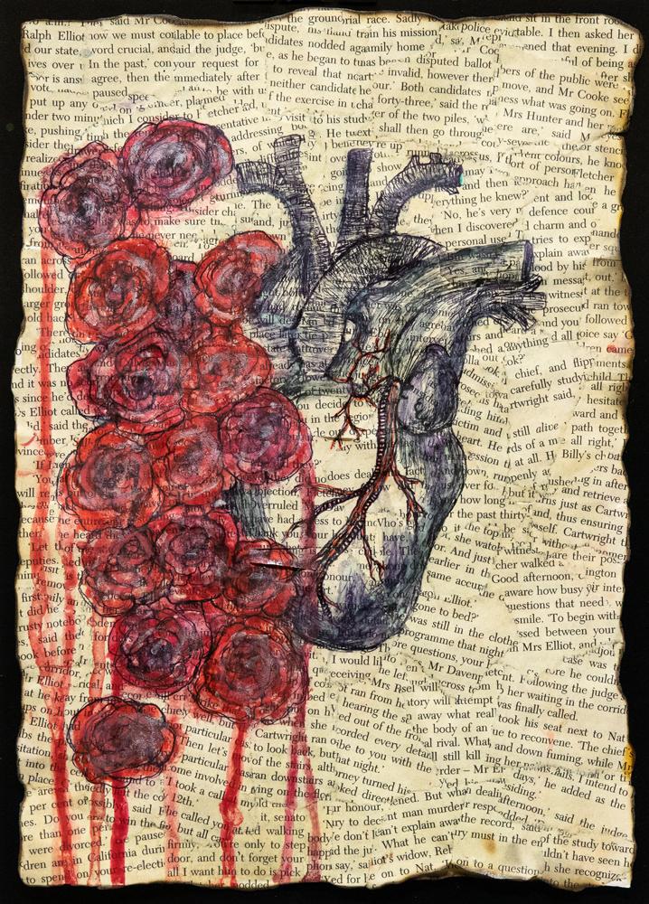 52. Gracie-Lee Dodd, 'Roses heart', mixed media, Year 11, Tenterfield High School