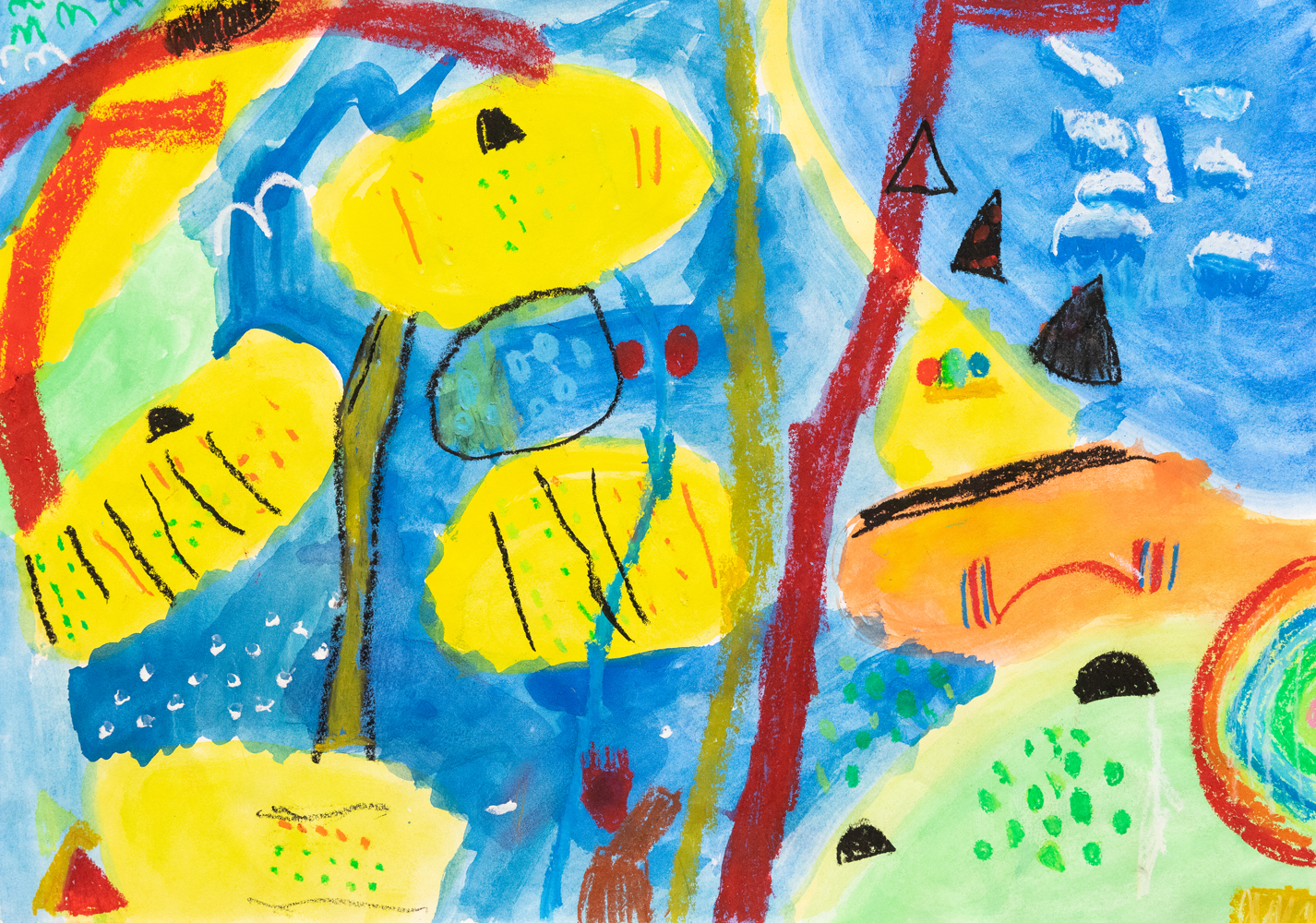 06. Indie Powell, 'Land of colour', crayon, watercolour, Year 2, St Patrick's School, Walcha