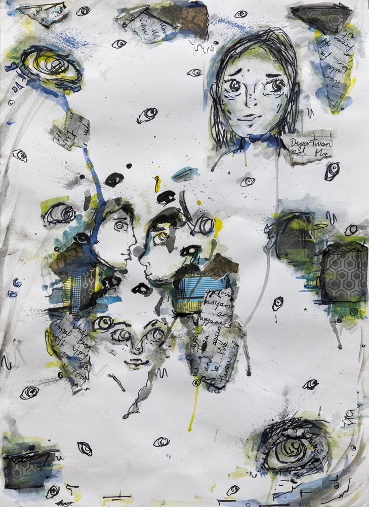 40. Jacky Ham, 'Grey', collage, watercolour, Year 8, Narrabri High School