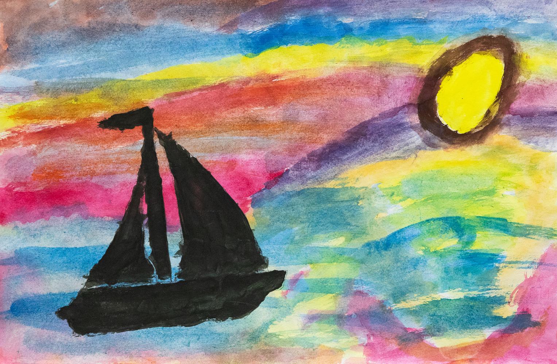 22. James Barnier, 'Mystical sunset', Waterpaints, Year 5, Cowper Public School