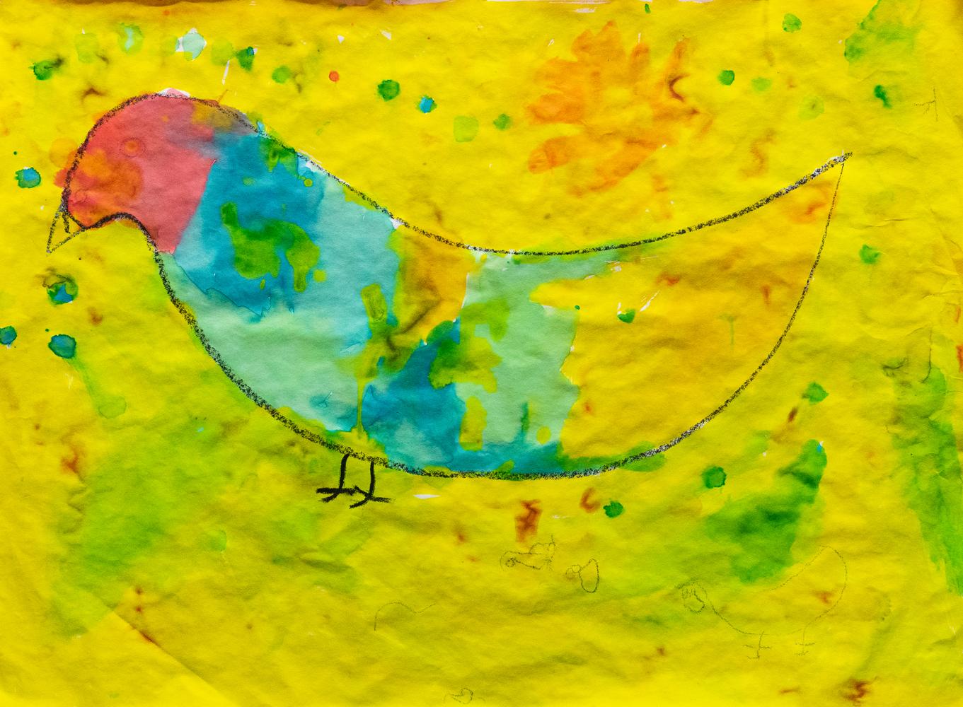 07. Kaylan Widders, 'My red hen', edicol dye, crayon, Kindergarten, Newling Public School