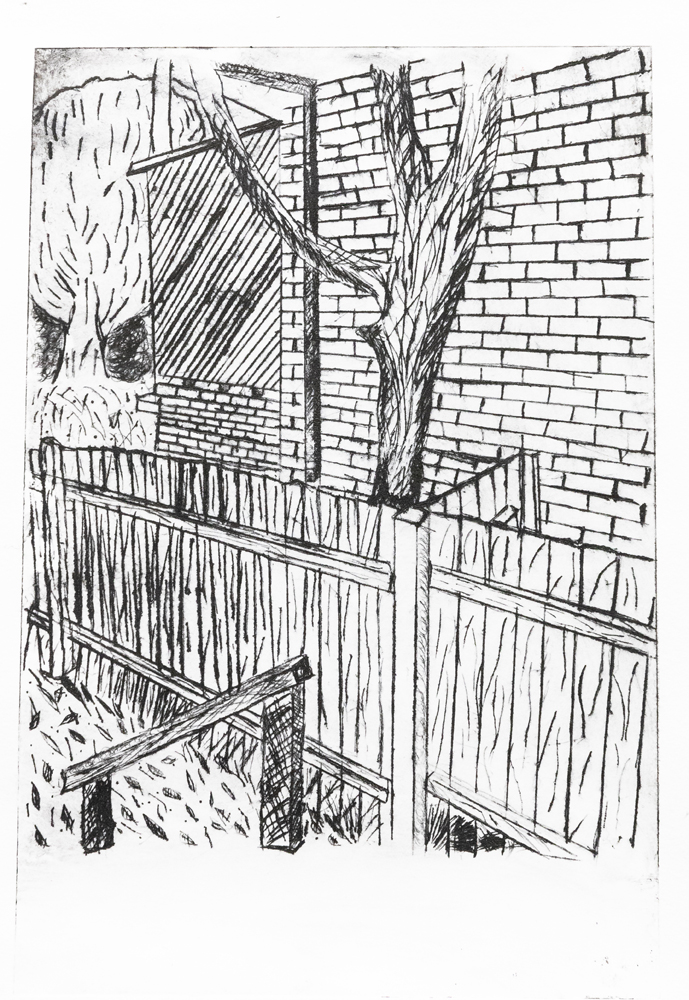 55. Lavender Langat, 'Backyard', etching, Year 11, Armidale Secondary College
