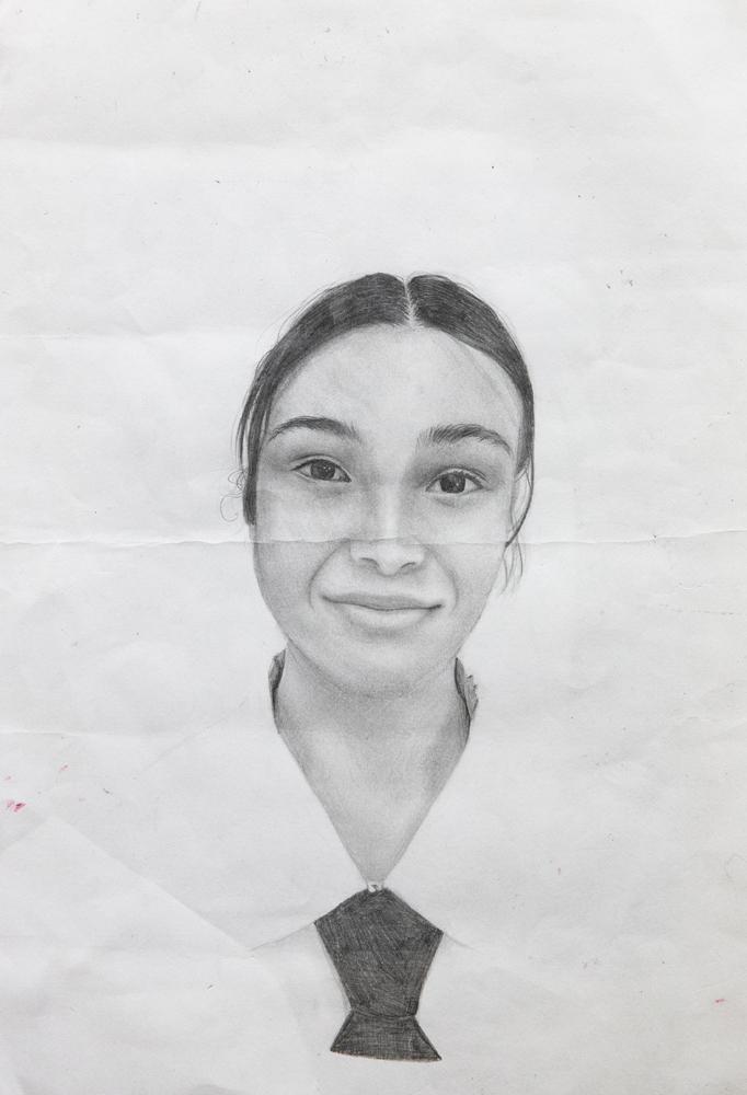 43. Layla McKee, 'School me', lead pencil, Year 8, St Joseph's College, Banora Point