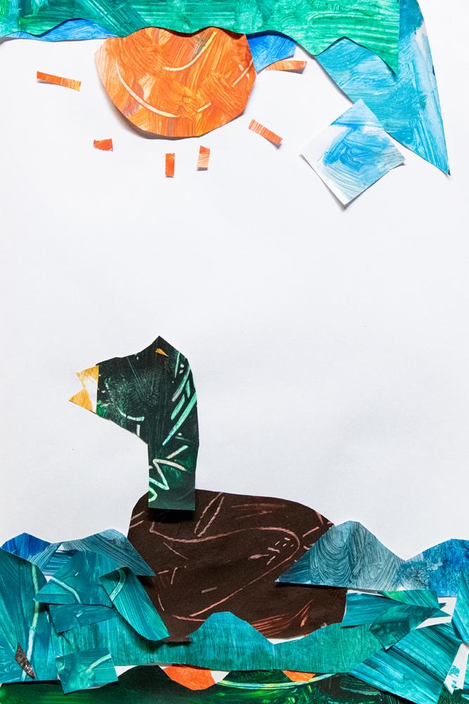 08. Liam Flanagan, 'Ducks', Painted collage, Year 1, Ben Venue Public School