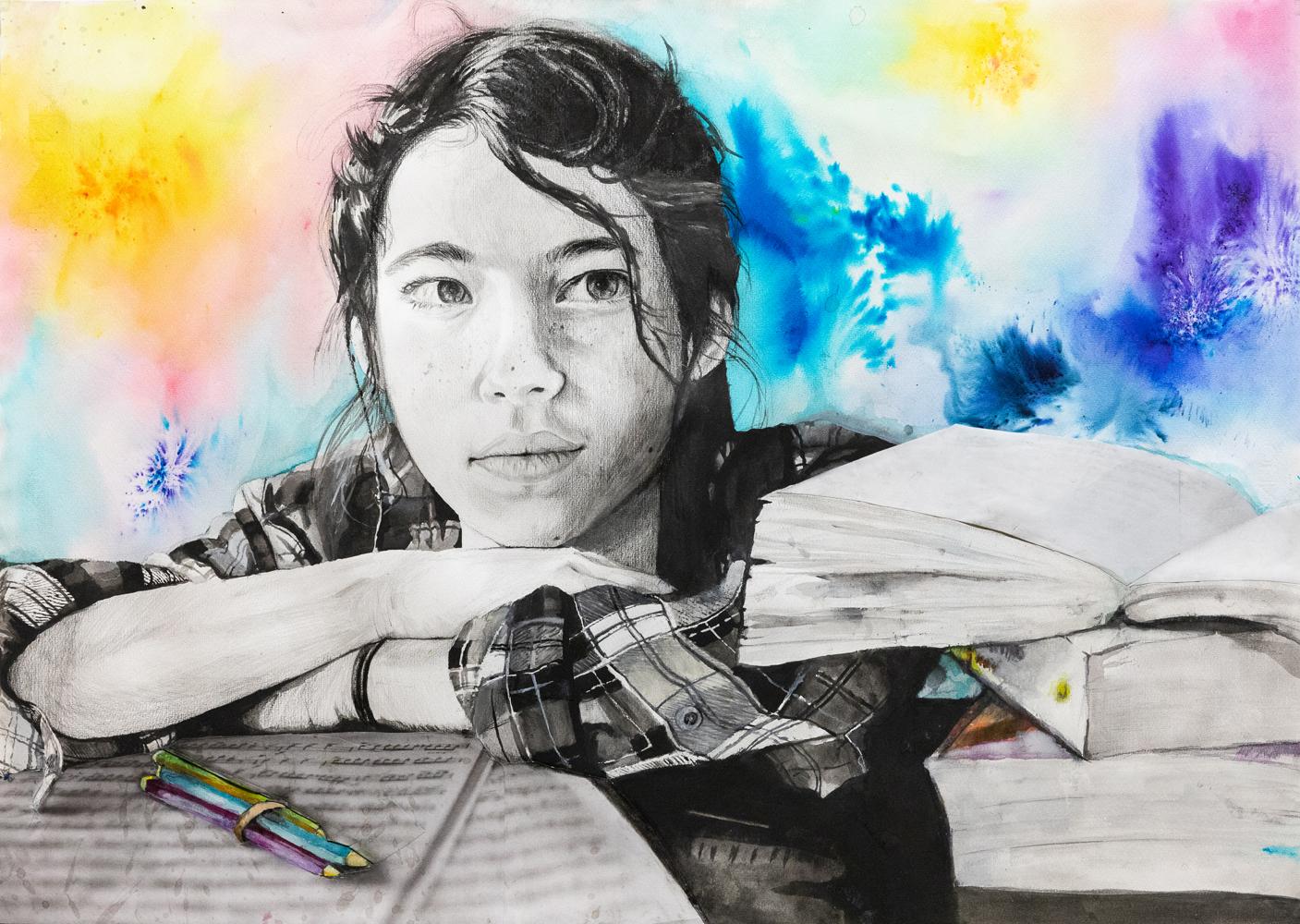 57. Lorena Dionigi, 'Pensive', Watercolour, pencil drawing, collage, Year 10, St Joseph's Regional College, Port Macquarie