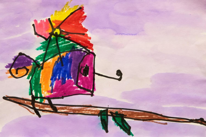 09. Luca Cullen, 'Rainbow gecko', markers, ink, watercolour wash, Year 1, Newling Public School