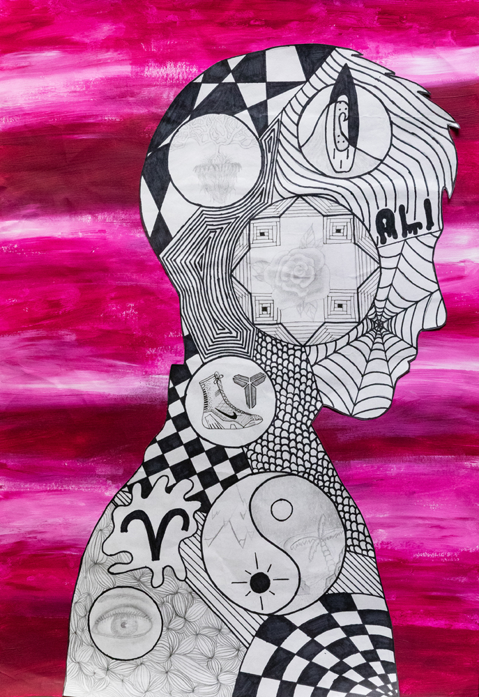 46. Oliver Blinman, 'The life of me', pencil, ink, acrylic paint, Year 9, Farrer Memorial Agricultural High School