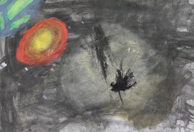 28. Peyton Holz, 'Space', paint, Year 3, Dorrigo Public School