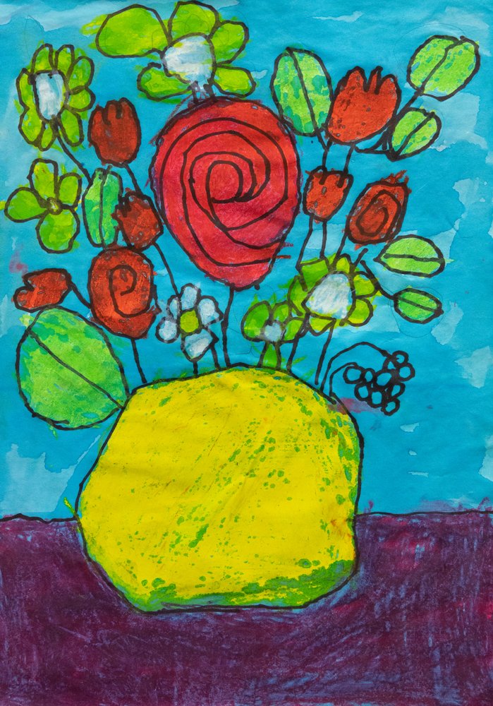 10. Riley Garside, 'Red Roses on a blue day', oil pastel, wash, Year 2, St Joseph's Primary School, Uralla