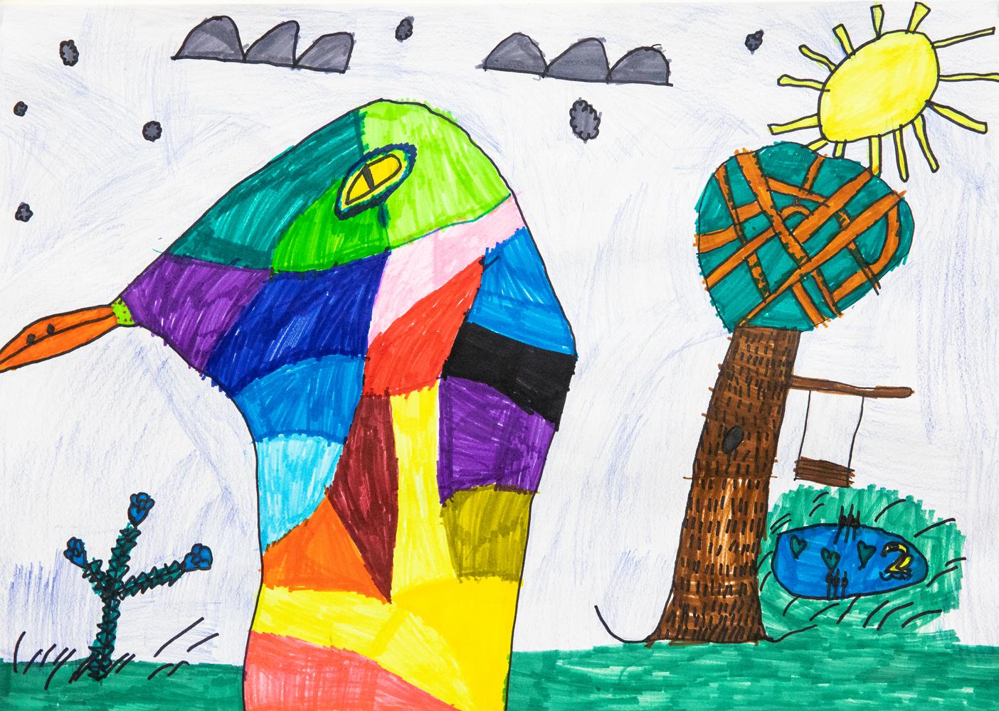 31. Serina Panuccio, 'Rainbow duck', texta, pencil, Year 5, Bundarra Central School