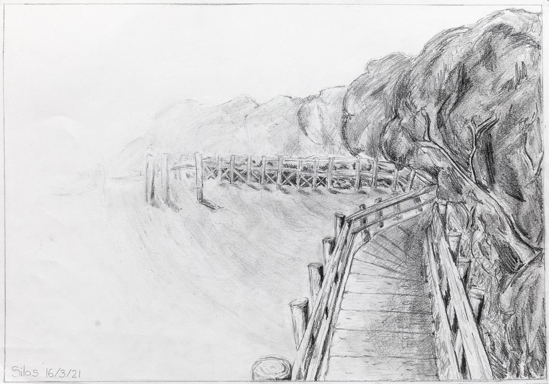 59. Silas Quaresmini, 'Bellwood Park boardwalk', graphite pencil, Year 11, Kempsey High School