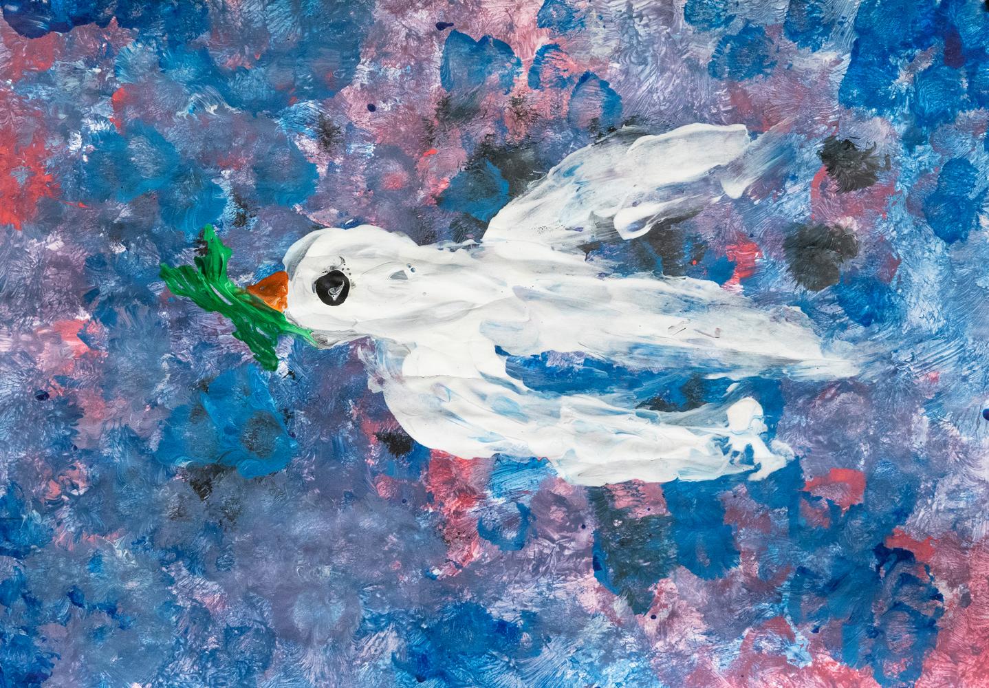 33. Sylvie Creenaune, 'Dove', paint, Year 5, Dorrigo Public School