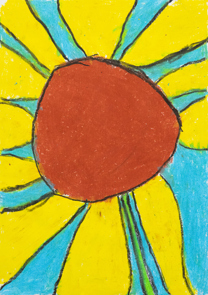 14. Winslow McDonald, 'Sunny sunflower', crayon, Year 2, Tamworth Public School
