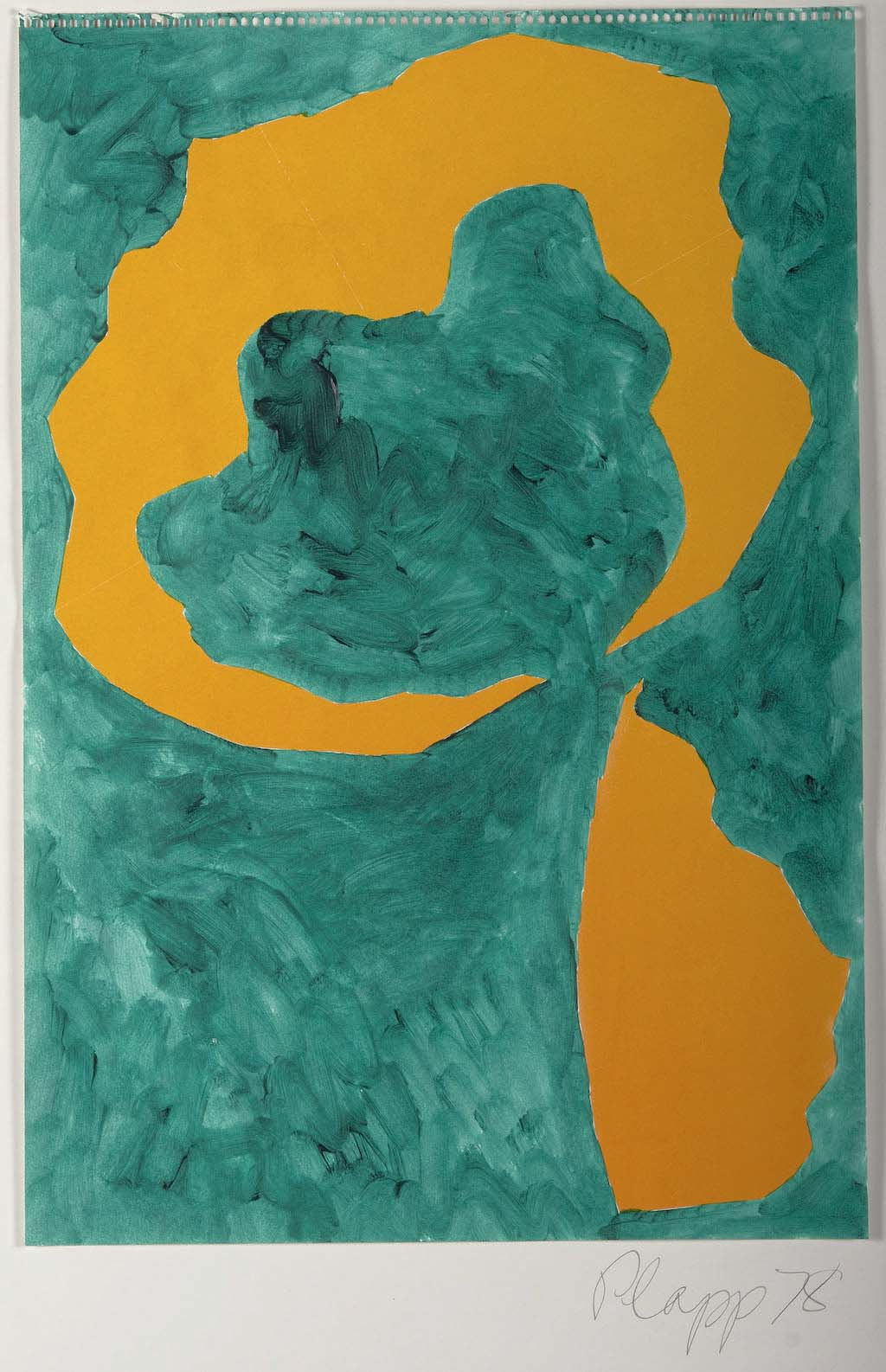 Abstract painting with mottled green background and solid yellow flower-like shapes